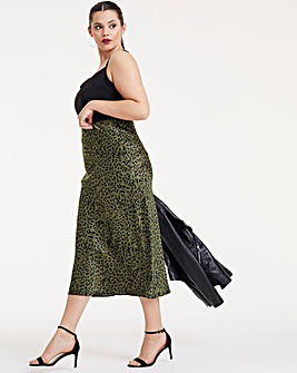 Animal Print Satin Column Midi Skirt