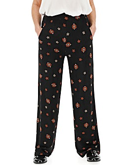 Floral Print Jersey Wide Trousers