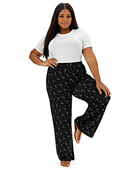 Petite Mono Floral Jersey Wide Trousers