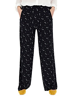 Mono Floral Jersey Wide Trousers
