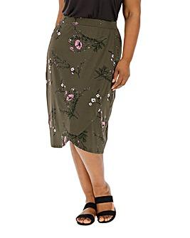 Khaki Floral Jersey Wrap Midi Skirt