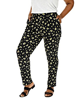 Floral Crepe Tapered Leg Trousers