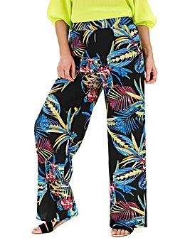 Floral Print Crepe Wide Leg Trousers
