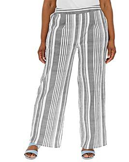 Stripe Wide Leg Crepe Trousers