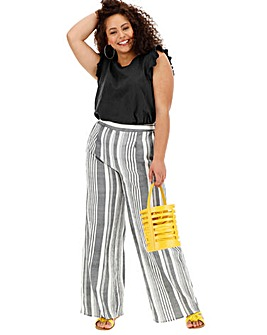 Stripe Wide Leg Crepe Trousers