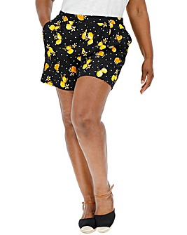 Lemon Print Crepe Shorts