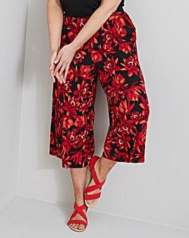 Floral Print Crepe Wide Leg Culottes