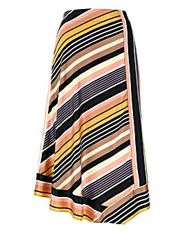 Stripe Dip Hem Satin Midi Skirt