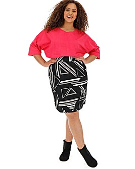 Mono Print Crepe Mini Skirt