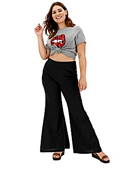 Crepe Statement Wide Leg Trousers