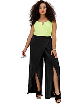 Crinkle Split Wrap Wide Leg Trousers
