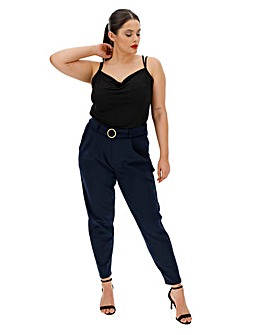 Buckle Trim Ankle Grazer Trousers