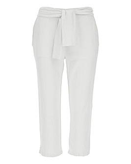 Linen Rich Tie Waist Crop Trousers