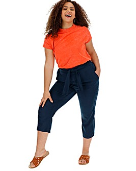 Linen Rich Tie Waist Crop Trousers