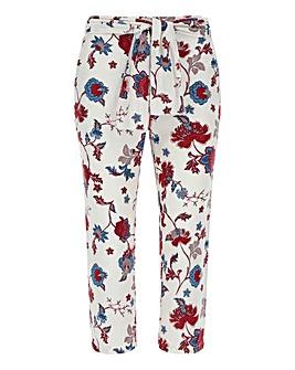 Floral Linen Rich Tie Waist Crop Trs