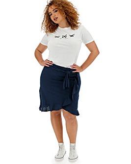 Linen Rich Mock Wrap Tie Waist Skirt