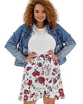 Floral Linen Rich Mock Wrap Tie Waist Skirt