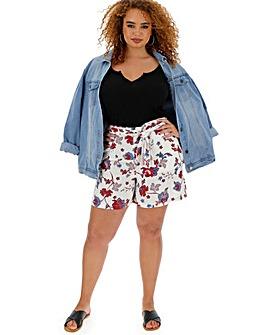Floral Linen Rich Tie Waist Shorts