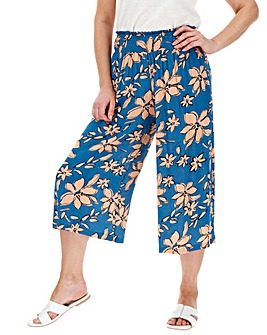 Floral Crinkle Shirred Waist Culottes