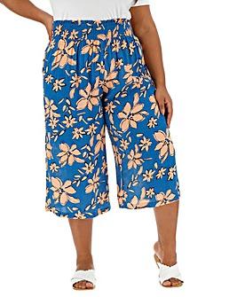 Floral Crinkle Shirred Waist Culottes
