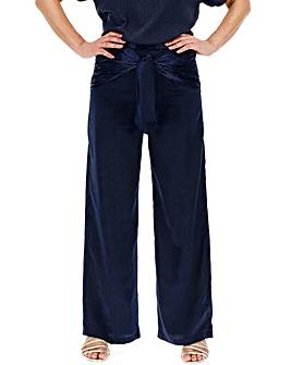 Jacquard Tie Front Wide Leg Trousers