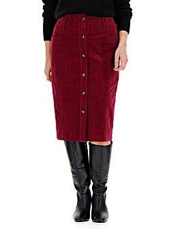 Cord Button Through Pencil Midi Skirt