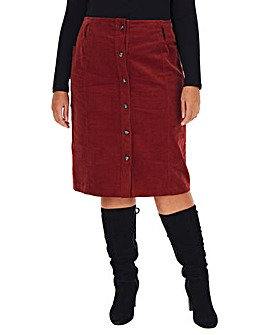 Cord Button Through Pencil Midi Skirt