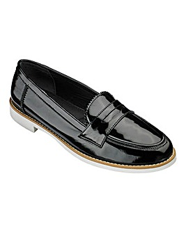 Heavenly Soles Patent Loafers Wide E Fit