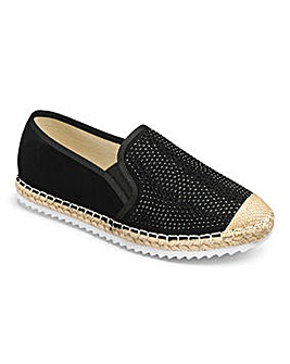 Heavenly Soles Diamante Espadrilles Wide E Fit