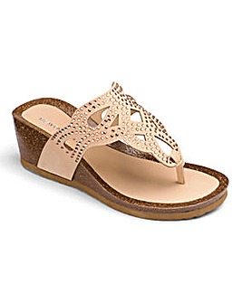 Heavenly Soles Diamante Toe Post Wedge Sandals Extra Wide EEE Fit