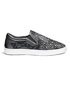 Diamante Detail Slip On Shoes E Fit