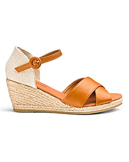 Cross Over Vamp Wedge Espadrille Sandals Extra Wide EEE Fit