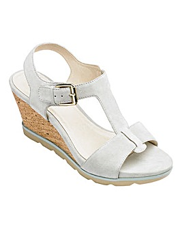 Lotus Suede T Bar Wedge Sandals Standard D Fit