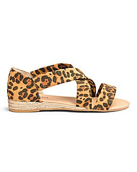 Leopard Espadrille Sandals EEE Fit