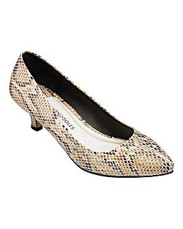 Heavenly Soles Kitten Heel Court Shoes Wide E Fit