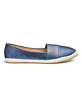 Elastic Detail Slip On Espadrilles Wide E Fit