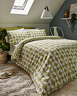 Rhea Green Duvet Cover Set