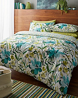 Catherine Lansfield Laura Green Reversible Duvet Cover Set