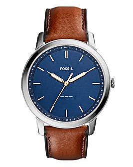 Fossil Gents The Minimalist Blue Face Watch With Brown Leather Strap