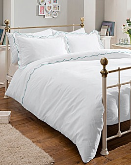 Embroidered Scalloped Trim Duvet Cover Set