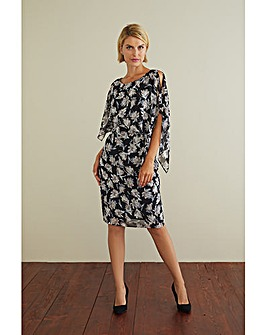 Marisol Chiffon Print Dress And Cape