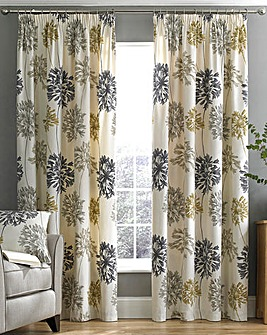 Millie Printed Floral Lined Pencil Pleat Curtains