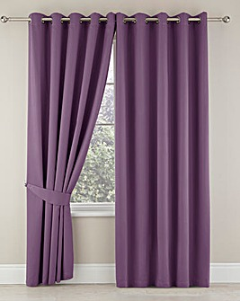 Plain-Dye Sateen Lined Pencil Pleat Curtains