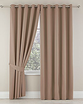 Plain-Dye Sateen Lined Pencil Pleat Curtains