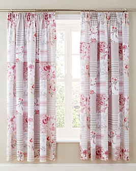 Betsy Patchwork Lined Pencil Pleat Curtains with Tie-Backs