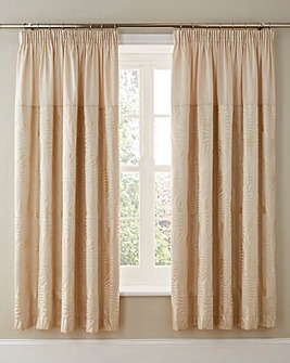 Lyra Jacquard Lined Pencil Pleat Curtains with Tie-Backs