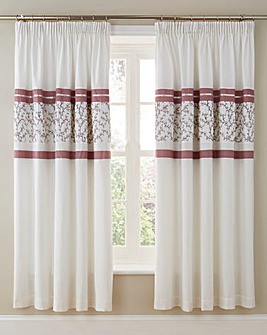 Pippa Pleated Lined Pencil Pleat Curtains with Tie-Backs