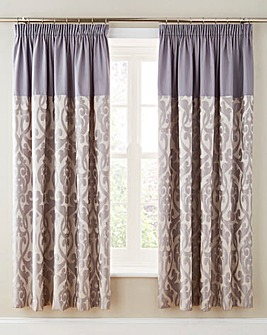 Thea Jacquard Lined Pencil Pleat Curtains with Tie-Backs