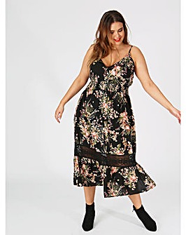 Koko Floral Maxi Dress with Lace Insert