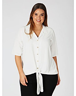 Lovedrobe GB Ivory Tie Front Shirt